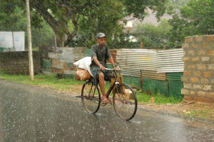 Old man on cycle.